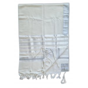 Talitnia Barak, Non-slip Lightweight Wool Tallit Prayer Shawl - Silver Stripes