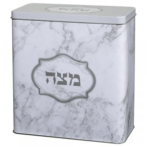 Decorative Matzah Tin with Lid – Marble Design