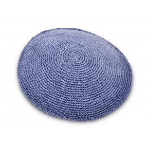 Hand Knitted Cotton Kippah - Solid Steel Blue