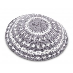 Hand Knitted DMC Gray Kippah with White Circular Stripes