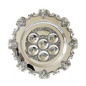 Floral Rim Passover Seder Plate - Silver Plate