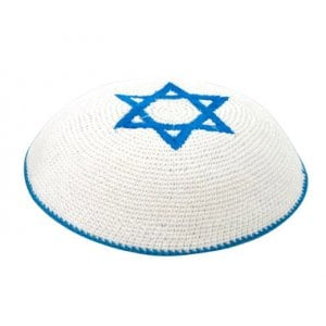 White Knitted Kippah with center Blue Magen David