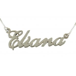 Sterling Silver English Name Necklace - Cursive Letters