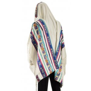 Talitnia Wool Dacron Tallit Jerusalem Holy City Prayer Shawl - Blue