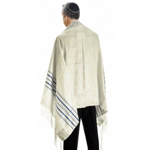 Talitnia Zion Paz Tallit Prayer Shawl - Blue Gold Stripes