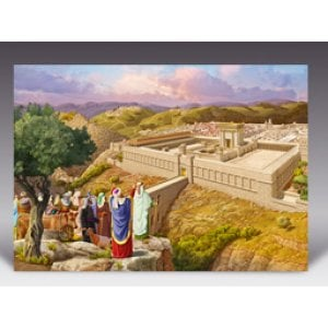 Laminated Colorful Wall Poster - Pilgrim Jews arriving at Temple Mount
