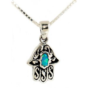 Opal Sterling Silver Filigree Hamsa Necklace