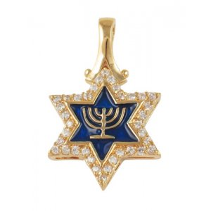 Gold Filled Star of David Menorah Pendant