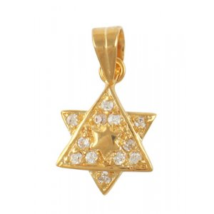 Gold Filled Cubic Zirconium 2-Star of David Pendant