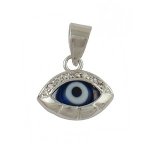 "Rhodium Plated Zirconium ""Eye"" Pendant"