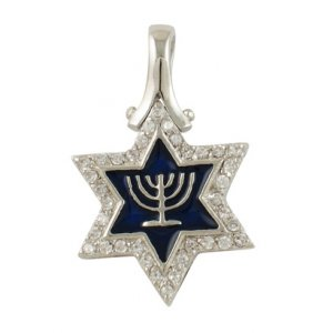 Gold Filled Rhodium Plated Star of David Menorah Pendant