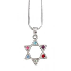 Rhodium Pendant Necklace - Colorful Star of David