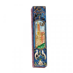 Yair Emanuel Large Hand Painted Wood Mezuzah Case - Tower of David on Blue