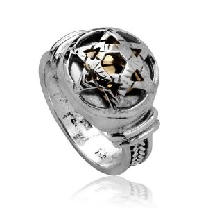 Five Metal Ring with Gold Star of David by HaAri