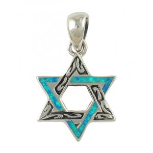 Etched Silver Opal Star of David Pendant