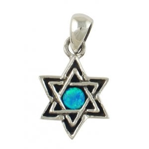 Opal and Silver Star of David Pendant