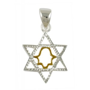 Silver Star of David Two-tone Pendant with hamsa