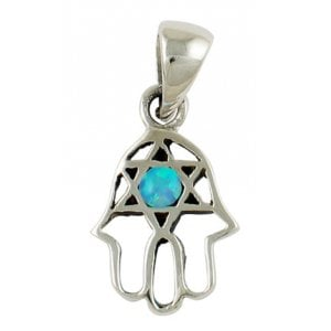Silver and Opal Star of David Hamsa Pendant