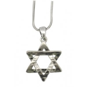 Rhodium Pendant Necklace - Hammered Star of David