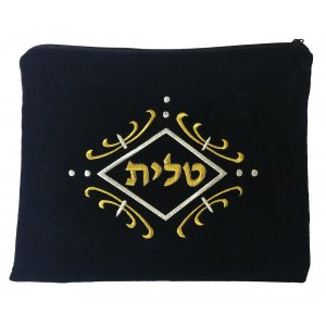 aJudaica Dark Blue Velvet Tallit & Tefillin Bags-gold and white swirl design