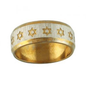 Stainless Steel Ring Gold with Star of David