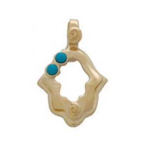 Gold Filled Turquoise Hamsa Pendant
