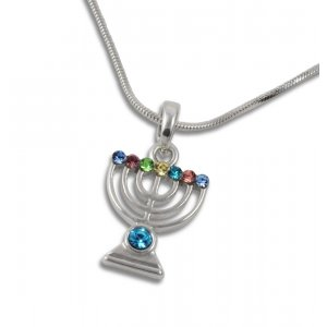 Rhodium Plated Pendant Necklace 7 Branch Menorah - Colored Stones