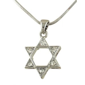 Rhodium Star of David Pendant Necklace - Colored Stones