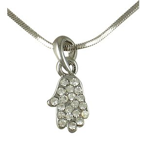 Hamsa Rhodium Necklace with white stones