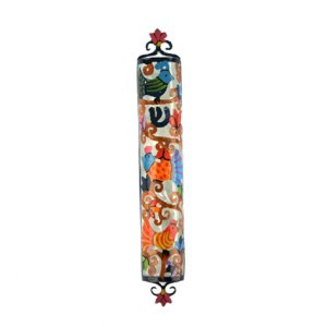 Yair Emanuel Hand Painted Colorful Laser Cut Metal Mezuzah Case - Birds