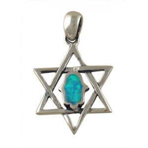 Silver and Opal Hamsa Pendant - Star of David