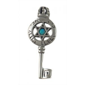 Silver and Opal Ani Ledodi Star of David Key Pendant