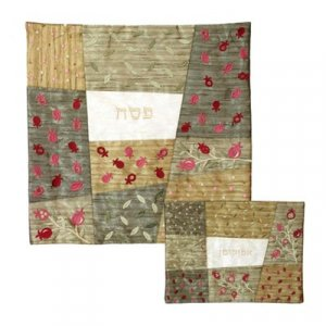 Yair Emanuel Embroidered Silk Patchwork Matzah and Afikoman Set - Gold