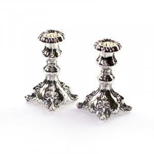 Decorative silver-plated Small Candlesticks floral design