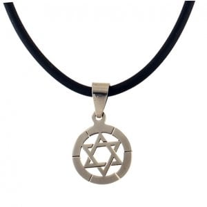 Stainless Steel Round Star of David on Rubber Cord