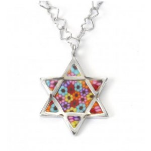 Millefiori Thousand-Flowers Star of David Pendant
