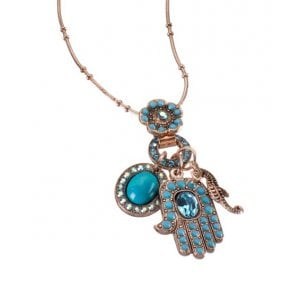 Amaro Oriental Hamsa and Seahorse and Turquoise with Swarovski Crystals