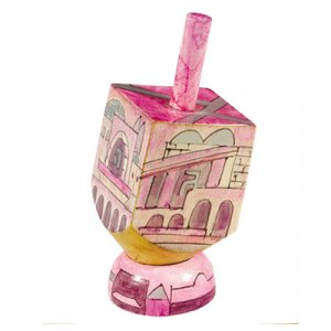 Yair Emanuel Hand Painted Wood Dreidel with Stand Pink Small- Jerusalem Images