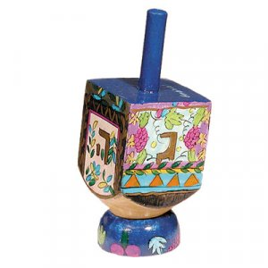 Yair Emanuel Hand Painted Wood Dreidel with Stand Small - Seven Species
