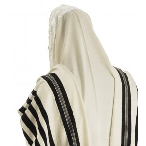 Talitnia Malchut Wool Non Slip Tallit Prayer Shawl Black Stripes - Optional Handmade Tzitzit Strings