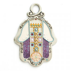 Purple and Gold Wall Hamsa by Esther Shahaf