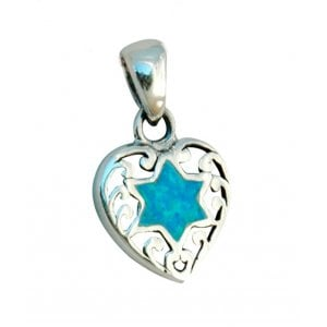 Heart Pendant with center opal Star of David