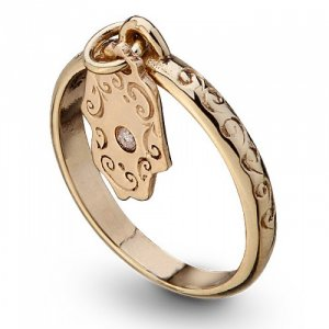 Gold Kabbalah Ring Hamsa Hand for Protection by HaAri