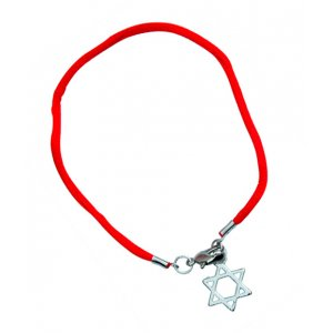 Red Thread Kabbalah Bracelet, Star of David Charm - Silver