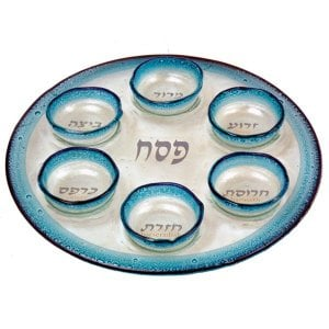 Itay Mager Fused Glass Passover Seder Plate - Blue