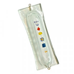 Fused Glass Modern Mezuzah Cover by Itay Mager