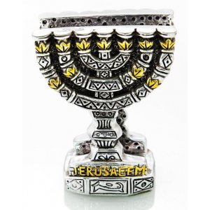 Silver Plated Napkin Holder with Gold Accents – Seven Branch Menorah Image