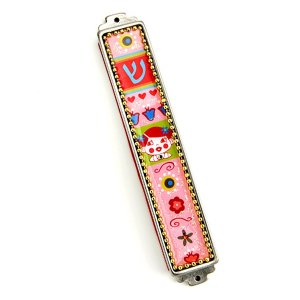 Iris Design Pink Mezuzah Case with Girl Design