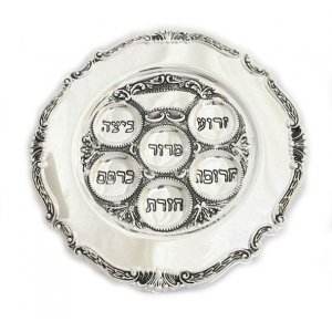 Round Silver Plated Passover Plate