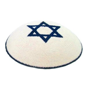 White Knitted Kippah with Dark Blue Star of David